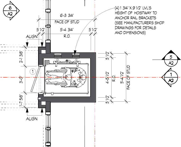 Elevator plan detail portfolio laura thomas studio for House plans with elevator